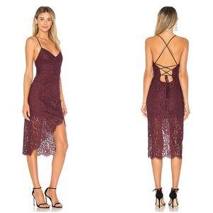Lovers + Friends Purple Lace Skylight Midi Dress